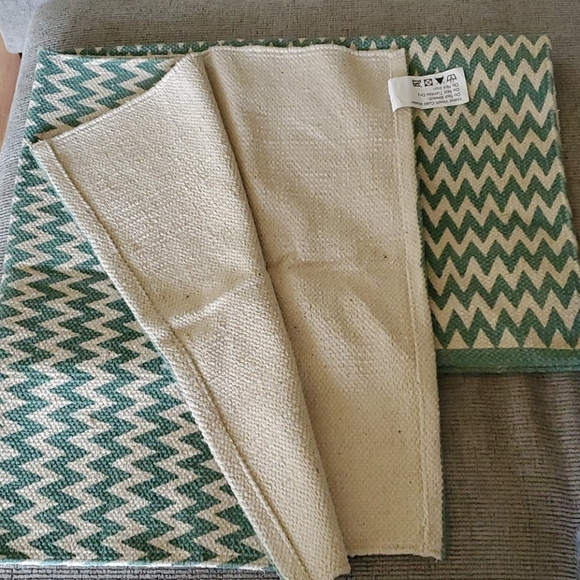 2 Teal Chevron Area Rugs